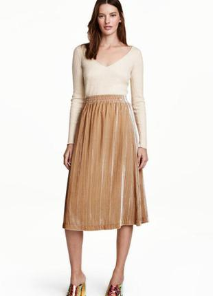 Плиссированная велюровая юбка h&m