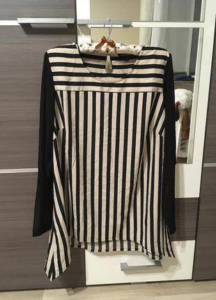 Блуза рубашка в полоску с прозрачными рукавами
