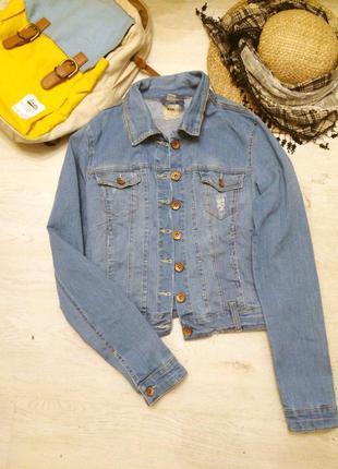 Гранж курточка голубая джинс рваная
