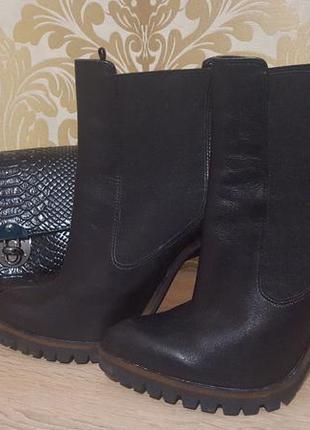 Трендовые ботинки zara из натуральной кожи