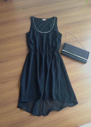 Чёрное коктейльное вечернее выпускное платье