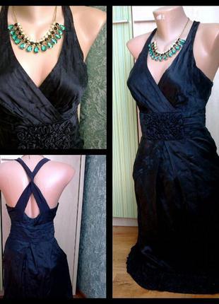 Платье  черное вечернее  из атласа с декором рр.с бренд
