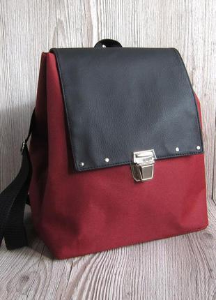 Небольшой рюкзак цвета марсала с эко-кожей