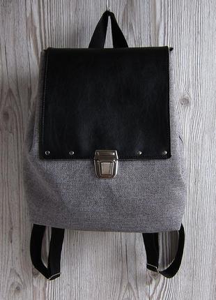 Небольшой серый рюкзак с эко-кожей