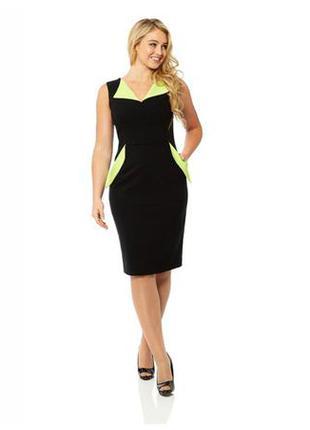 Огромный выбор платьев и блуз.стильное утягивающее миди платье с карманами и контрастными вставками
