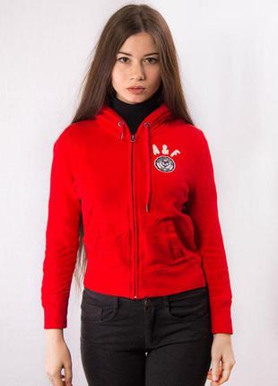 Толстовка женская на змейке с капюшоном красная abercrombie&fitch (s)