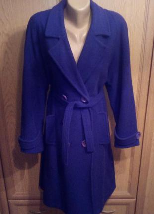 Стильное пальто насыщенного синего цвета 48 укр размера