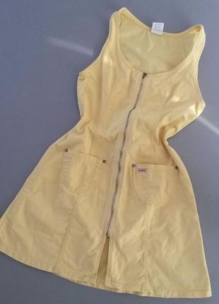 Желтое платье джинс madoc