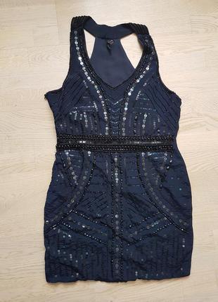 Коктейльное платье с вышивкой бисером