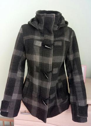 Шерстяное демисезонное пальто с капюшоном h&m размер s (36,42-44)