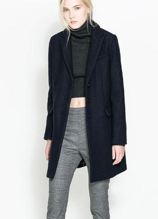 Шерстяное темно-синее пальто trafaluc