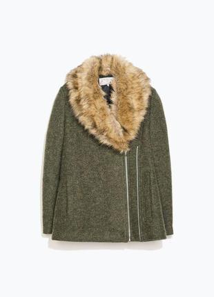 Пальто зимнее zara женское оригинал с искусственным мехом s xs тёплое 2016 весна очень демисезон