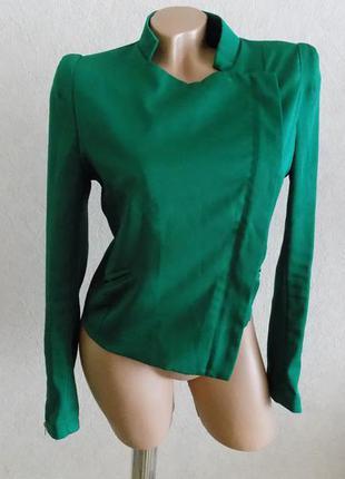 Пиджак с косой змейкой зеленый фирменный vera&luky размер 46