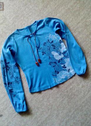 36-38р. голубая кофта как вышиванка, хлопок