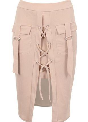 Нюдовая юбка карандаш missi london с декоративной шнуровкой и карманами/ размер м-l