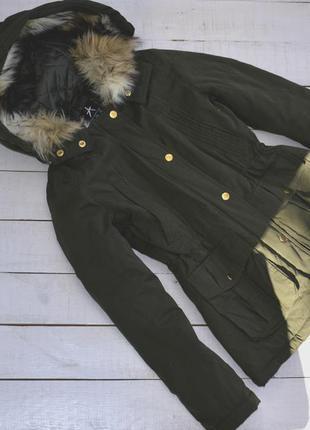 Крутая куртка/парка цвета хаки