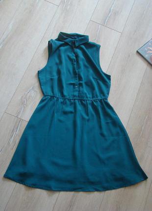 Изумрудное шифоновое платье