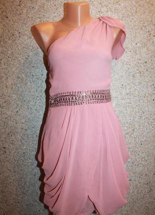 Платье розовое, короткое украшено бисером, размер s