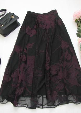 Новая шикарная длинная юбка из сеточки с вышивкой от marks&spencer per una premium