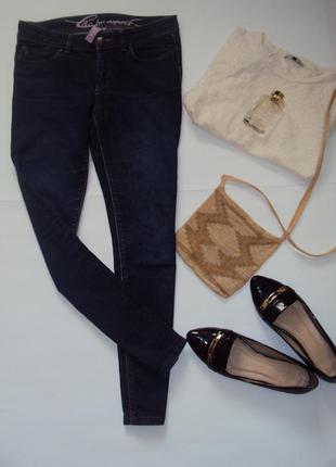 Укороченные синие джинсы скинни esprit