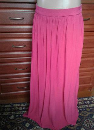 Zara(турция) яркая розовая юбка-макси в пол 46-48р