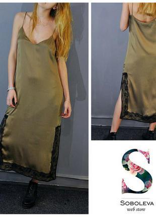 Платье в стиле lingerie цвета оливы zara