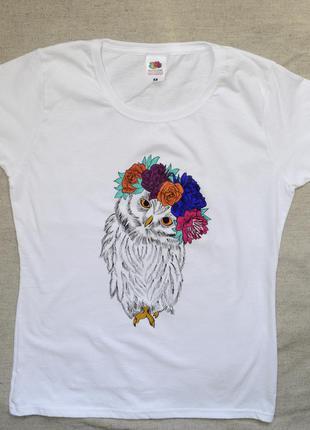 Женская футболка с ручным принтом