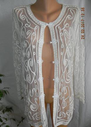 Красивая ажурная кофта-кардиган