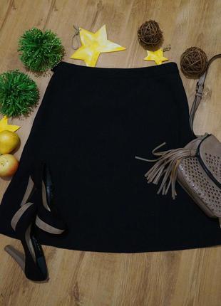 Черная  миди юбка классика. трапеция. большой размер