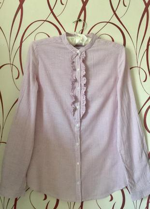 Нежнорозовая рубашка блузка из тончайшего хлопка
