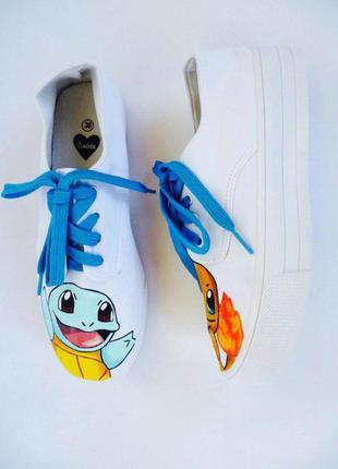 Очень крутые кеды ручной росписи #pokemongo (большой выбор одежды и обуви)
