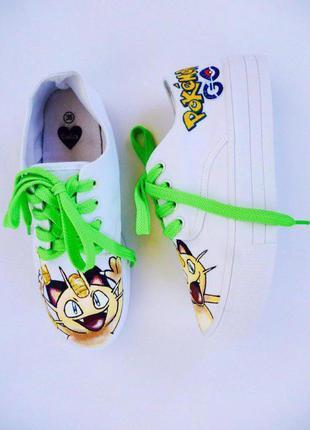 Стильные кеды ручной росписи #pokemongo (большой выбор одежды и обуви)