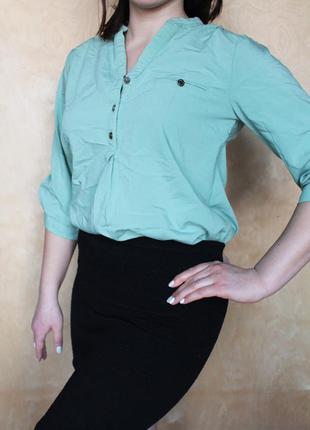 Мятная рубашка /классическая блузка голубая / стильная блуза мята / блуза прямого кроя
