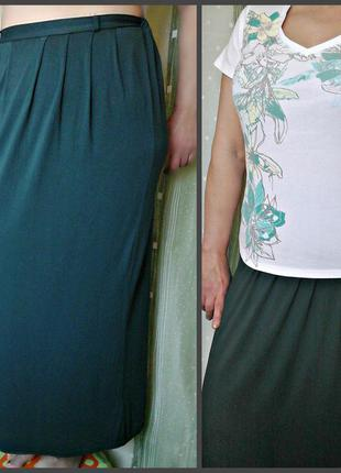 Трикотажная юбка бутылочного цвета, большой размер (16-18), с футболкой дешевле