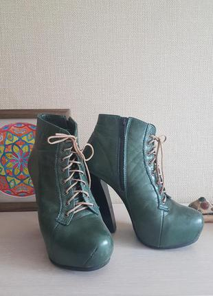Зеленые ботиночки из кожи р.38