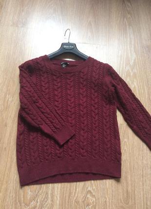 Стильный свитерок цвета бургунди s-m