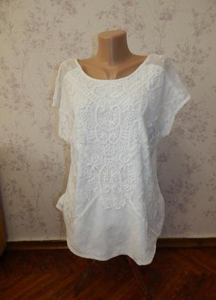 Marks&spencer блузка ажурная гепюровая стильная модная р16