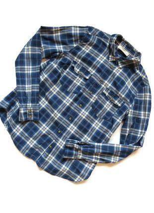 Рубашка синяя в клетку h&m