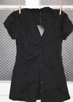 Блуза рубашка футболка srtadivarius черная m 28 (на s)  8-10