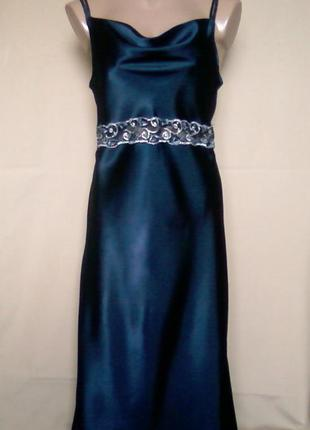Атласное платье вечернее, выпускное 12/14 размера