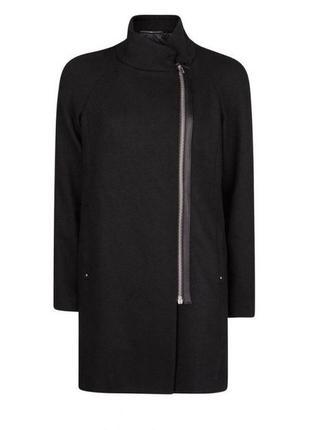 Шикарное черное пальто mango. размер l/xl