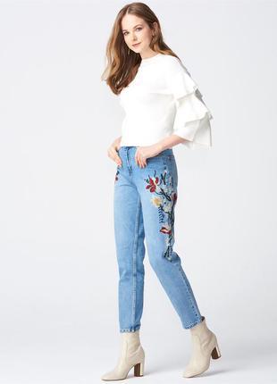 Модные mom джинсы бойфренд вышивка 28-30р от top shop moto