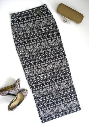 Облегающая трикотажная юбка с этно принтом, с биркой, доставка бесплатно