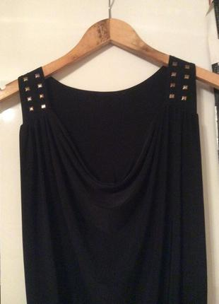 Платье туника черная эластан