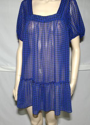 Прозрачное платье туника гусинная лапка