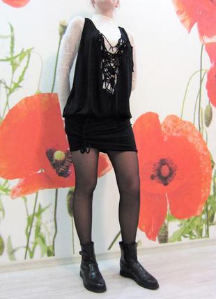 Оригинальное черное платье сарафан
