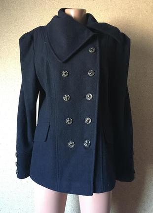 Синее пальто фирменное шерсть+вискоза распродажа
