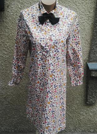 Платье-рубашка с застежкой до пояса(без подкладки) из плотного хлопка,ручная робота.