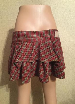Красная клетчатая юбка расклешенная низкая цена распродажа
