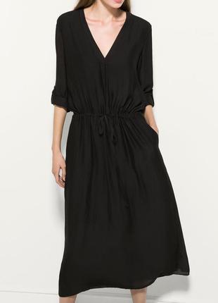 Стильное черное платье на кулиске massimo dutti размер 40, 42